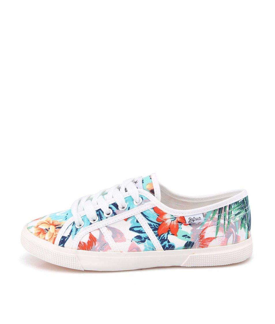 Bílé dámské tenisky s barevnými květy Refresh