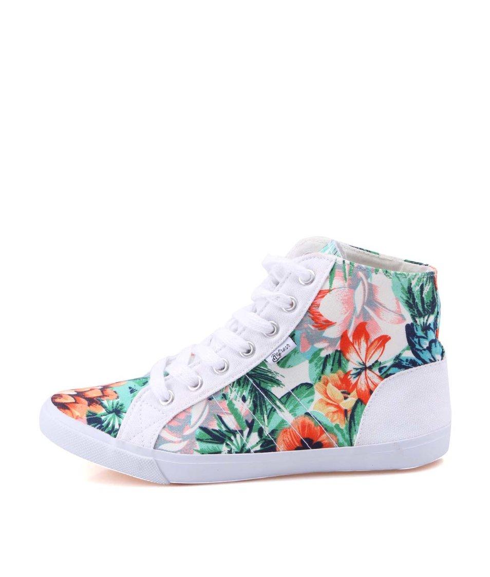 Bílé dámské květované kotníkové tenisky Refresh