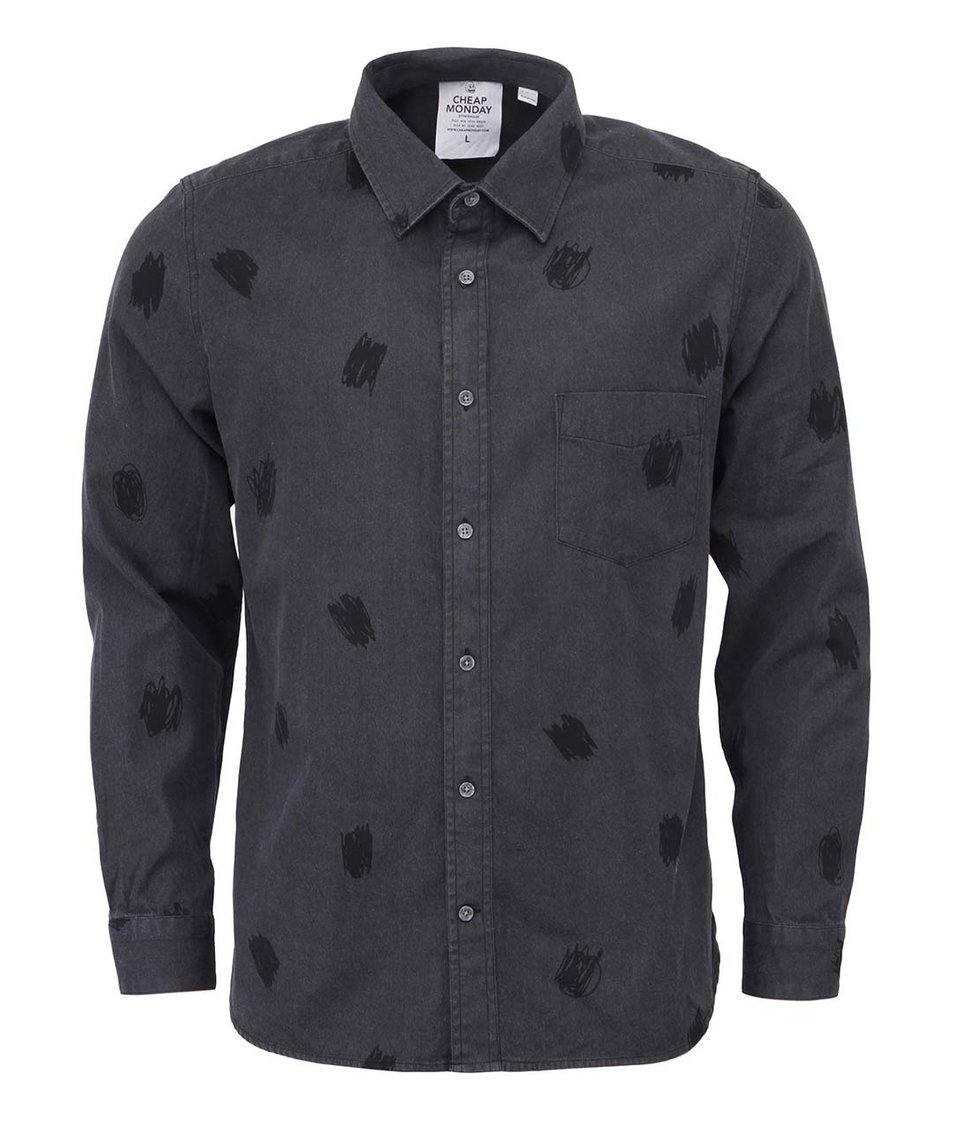 Tmavě šedá pánská džínová košile se vzory Cheap Monday Air