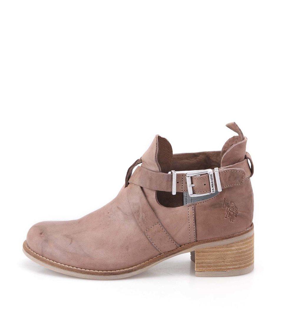 Hnědobéžové kožené kotníkové boty U.S. Polo Assn. Leona