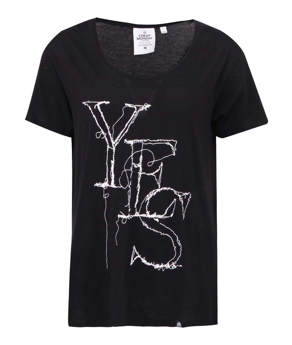 Černé dámské tričko s potiskem Cheap Monday Easy