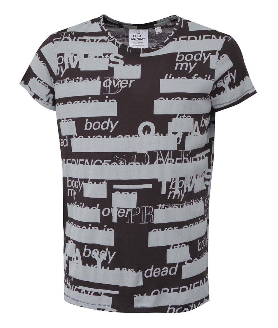 Černé pánské triko s šedými nápisy Cheap Monday Cap