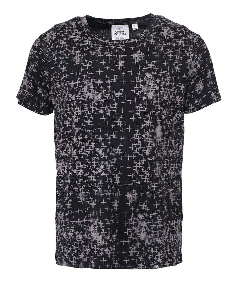 Černé pánské triko s šedými křížky Cheap Monday Positivism
