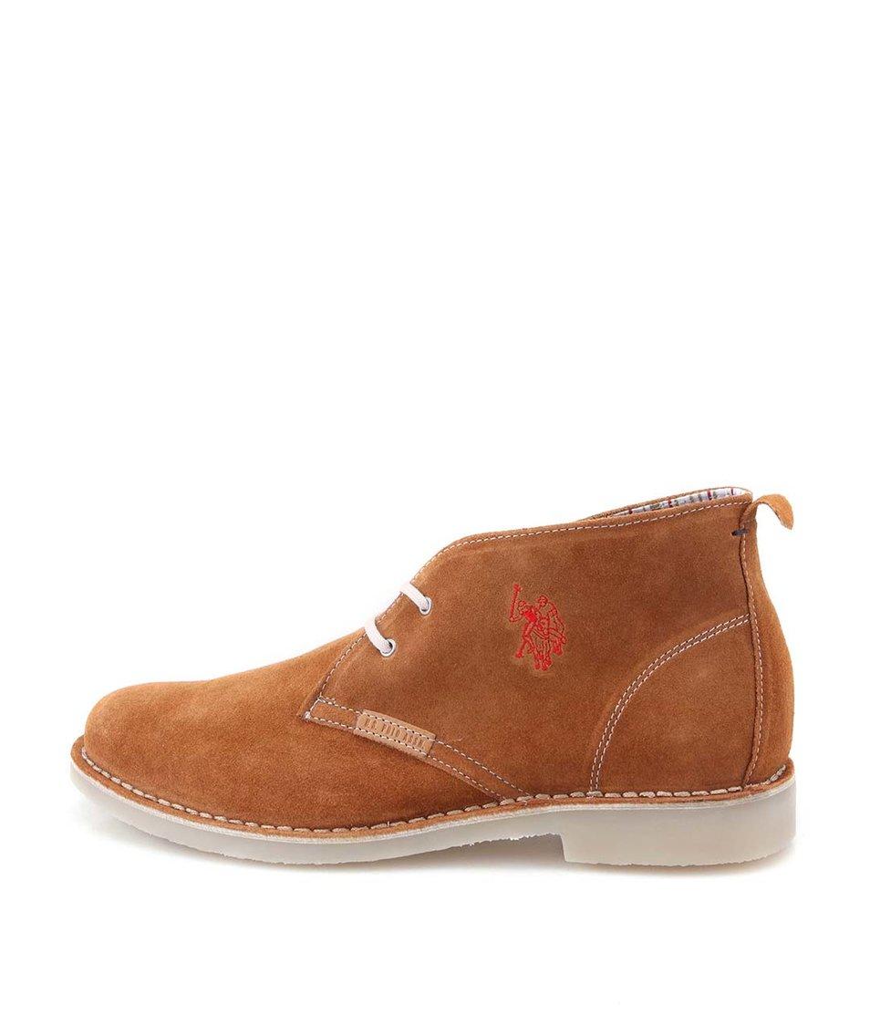 Hnědé pánské kožené boty U.S. Polo Assn. Amadeus