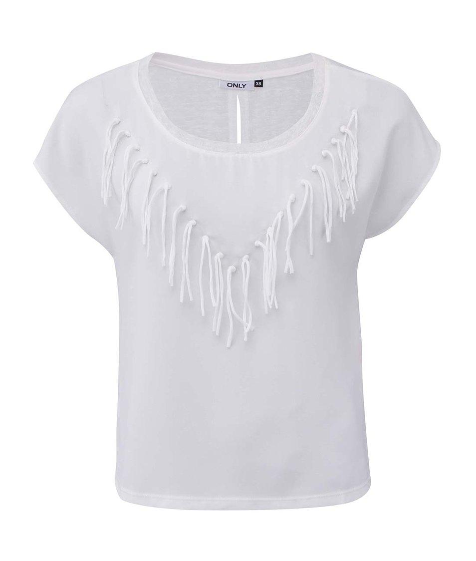 Bílé tričko s třásněmi ONLY Vanessa