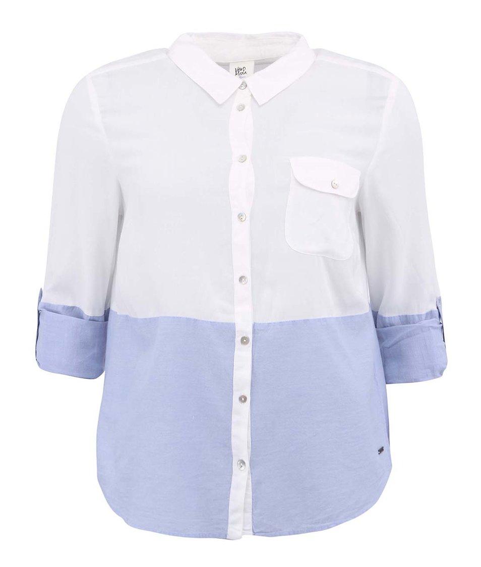 Modro-bílá košile s 3/4 rukávy Vero Moda Mixi