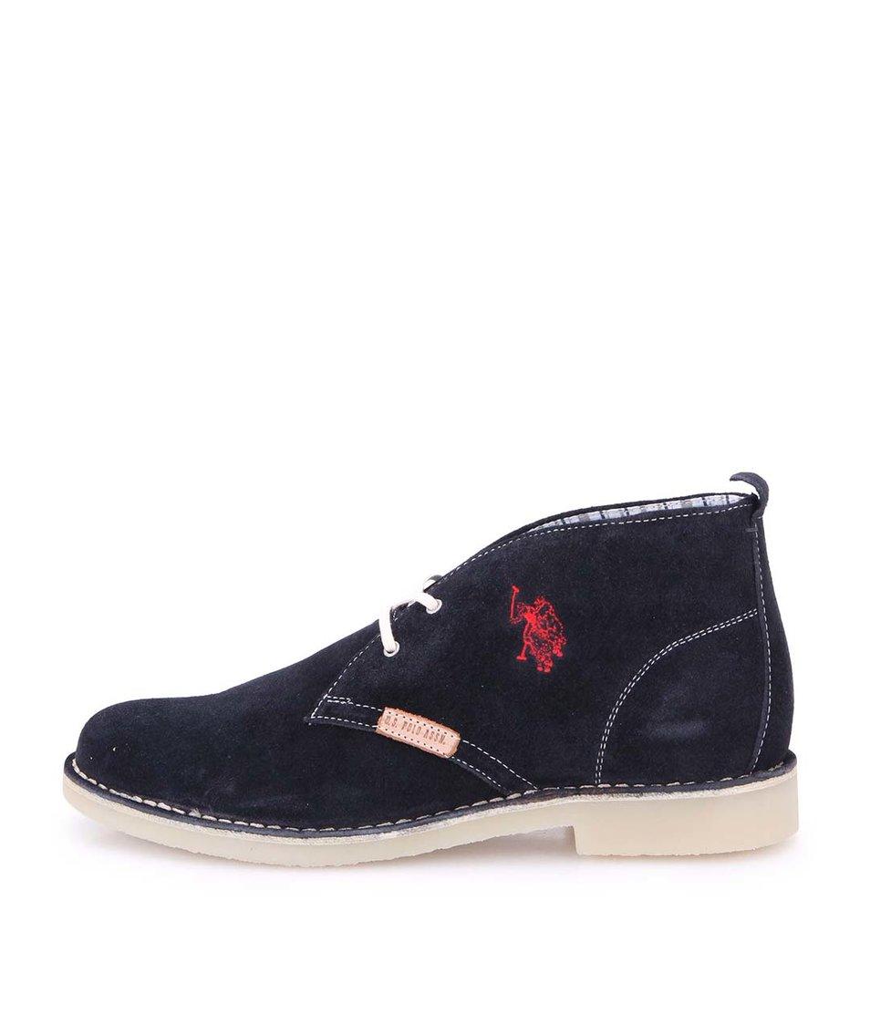 Tmavě modré pánské kožené boty U.S. Polo Assn. Amadeus