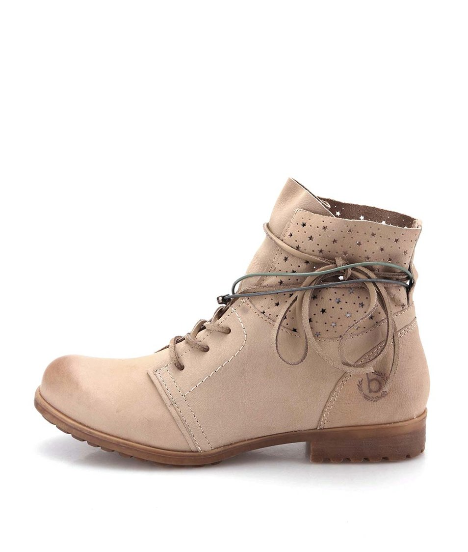 Béžové dámské kožené boty s ozdobnými tkaničkami a perforací bugatti