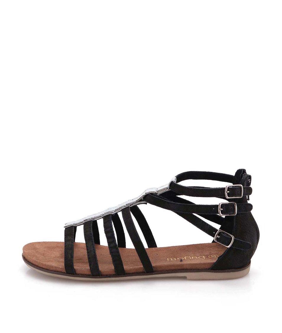 Černé dámské kožené páskové sandálky se spojem ve stříbrné barvě bugatti