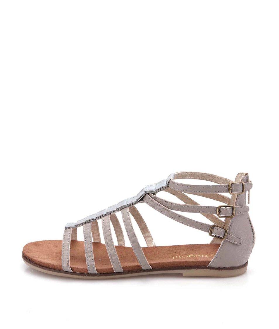 Šedohnědé dámské kožené páskové sandálky se spojem ve střírbné barvě bugatti