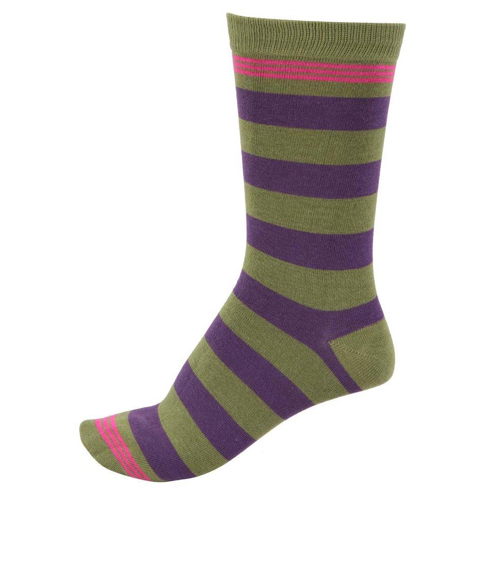 Zelené pánské bambusové ponožky s fialovými pruhy Braintree Ashdown