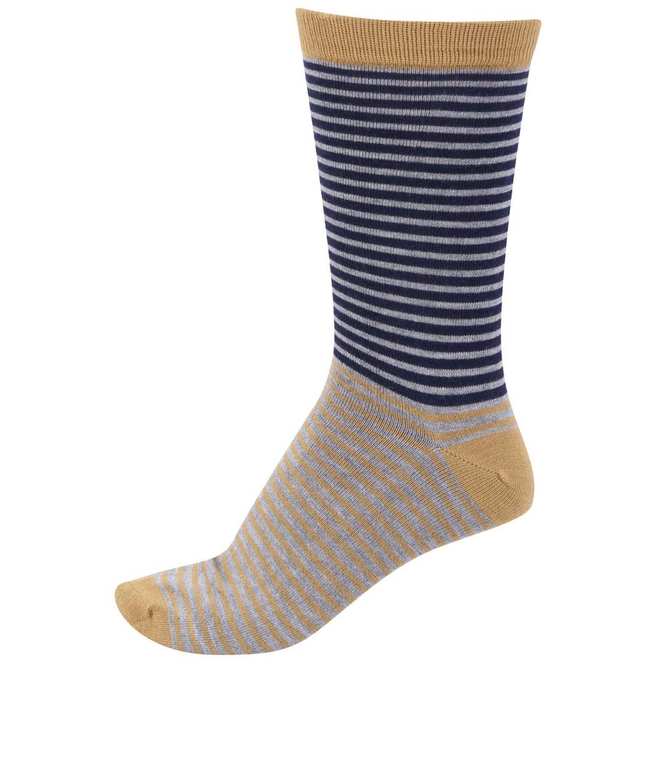 Hořčicové pánské bambusové ponožky s pruhy Braintree Tarrow