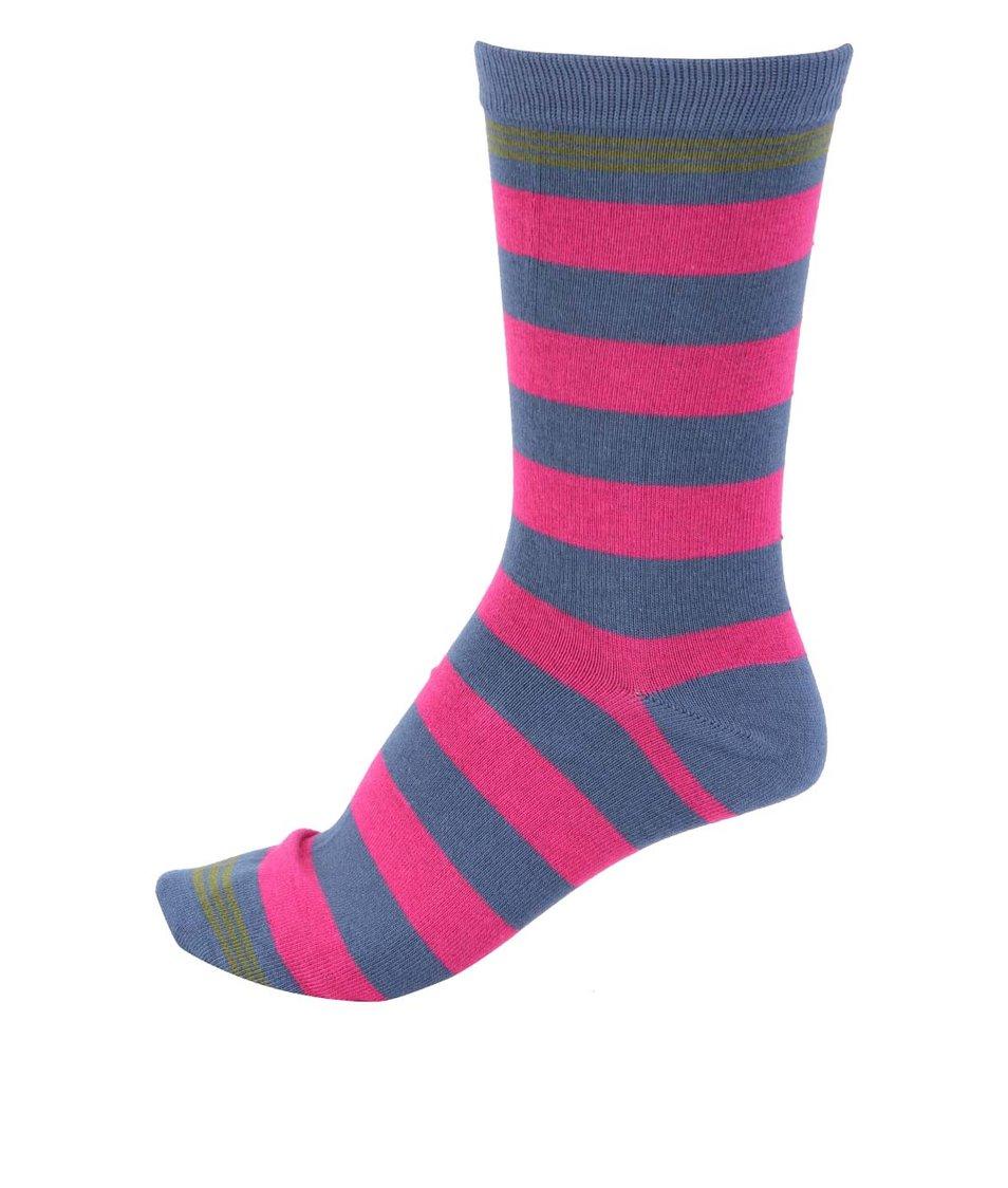 Modré pánské bambusové ponožky s růžovými pruhy Braintree Ashdown
