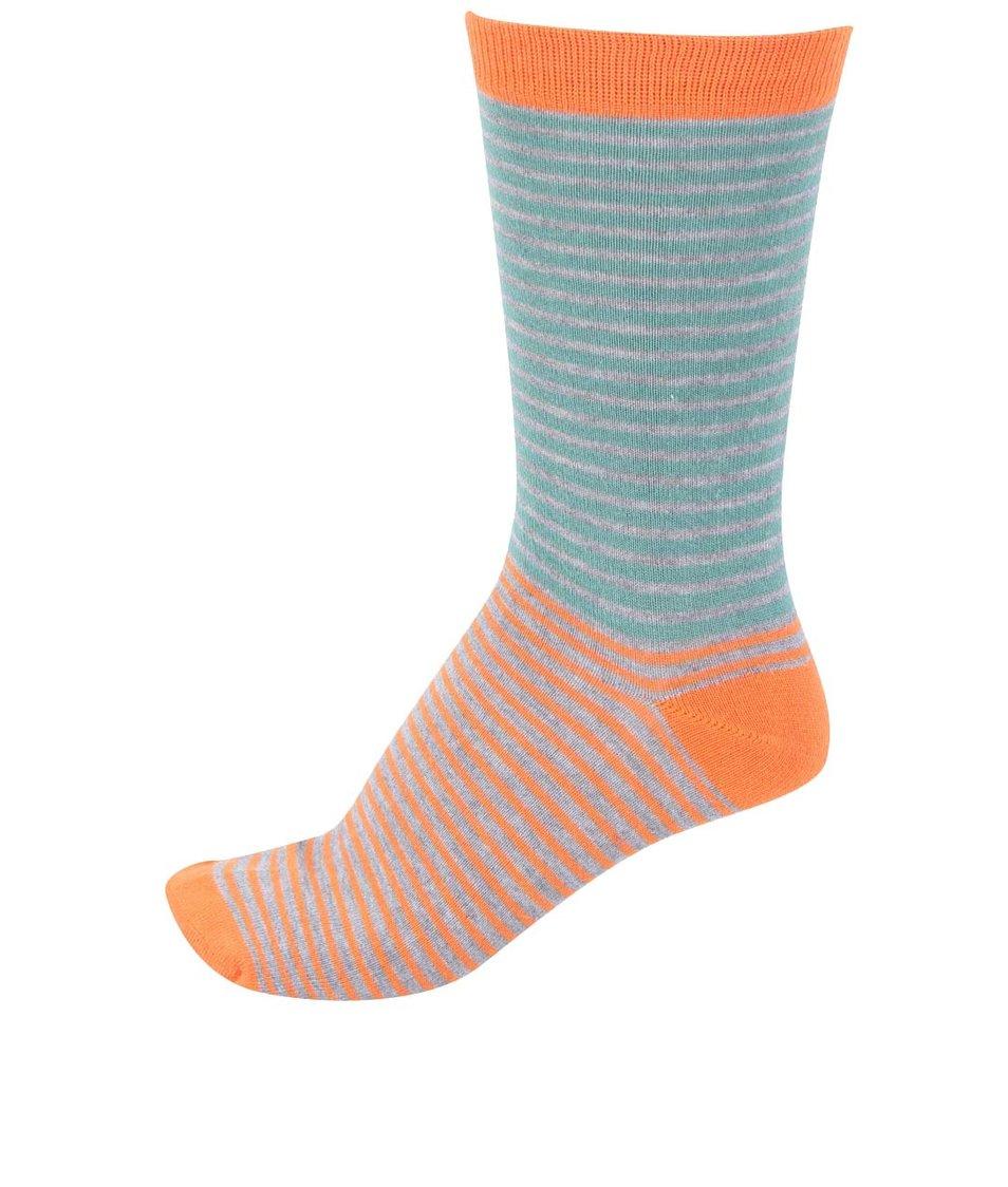 Oranžové pánské bambusové ponožky s pruhy Braintree Tarrow