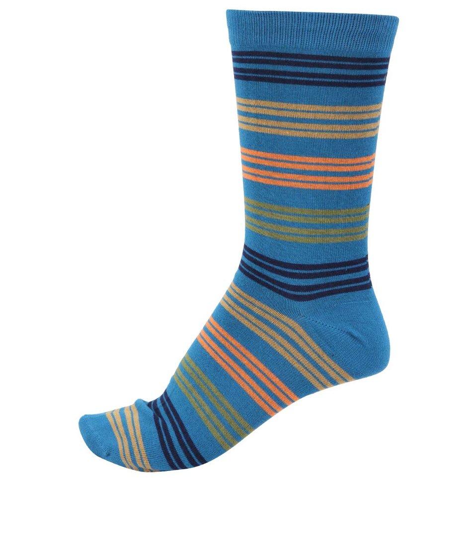 Modré pánské bambusové ponožky s barevnými pruhy Braintree Kirby