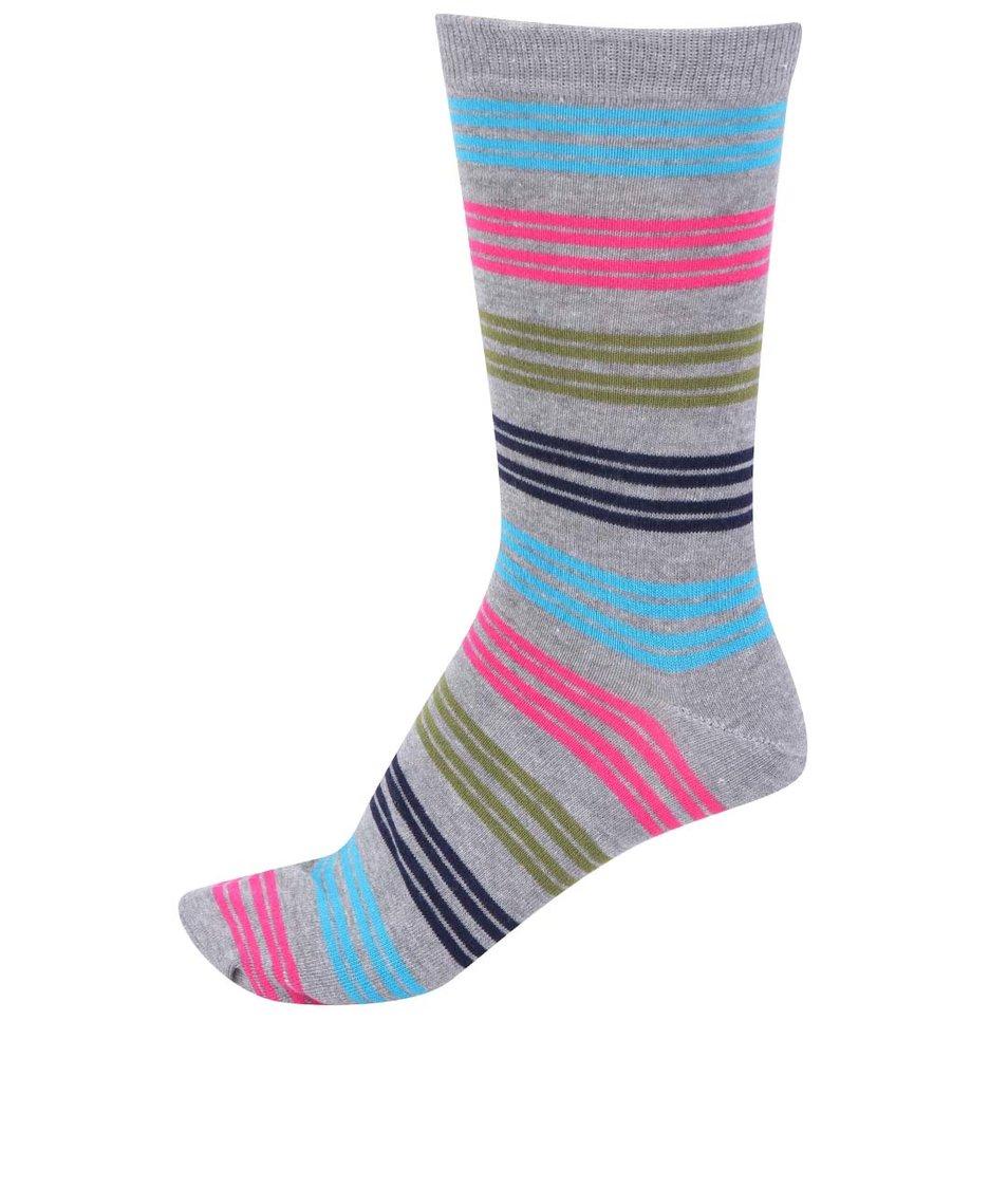 Šedé pánské bambusové ponožky s barevnými pruhy Braintree Kirby