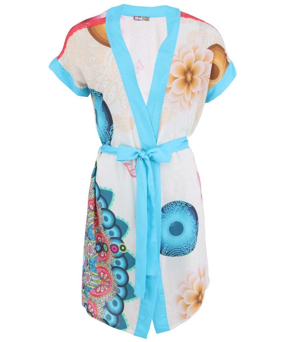 Modro-krémové kimono s ornamenty Desigual Mandala