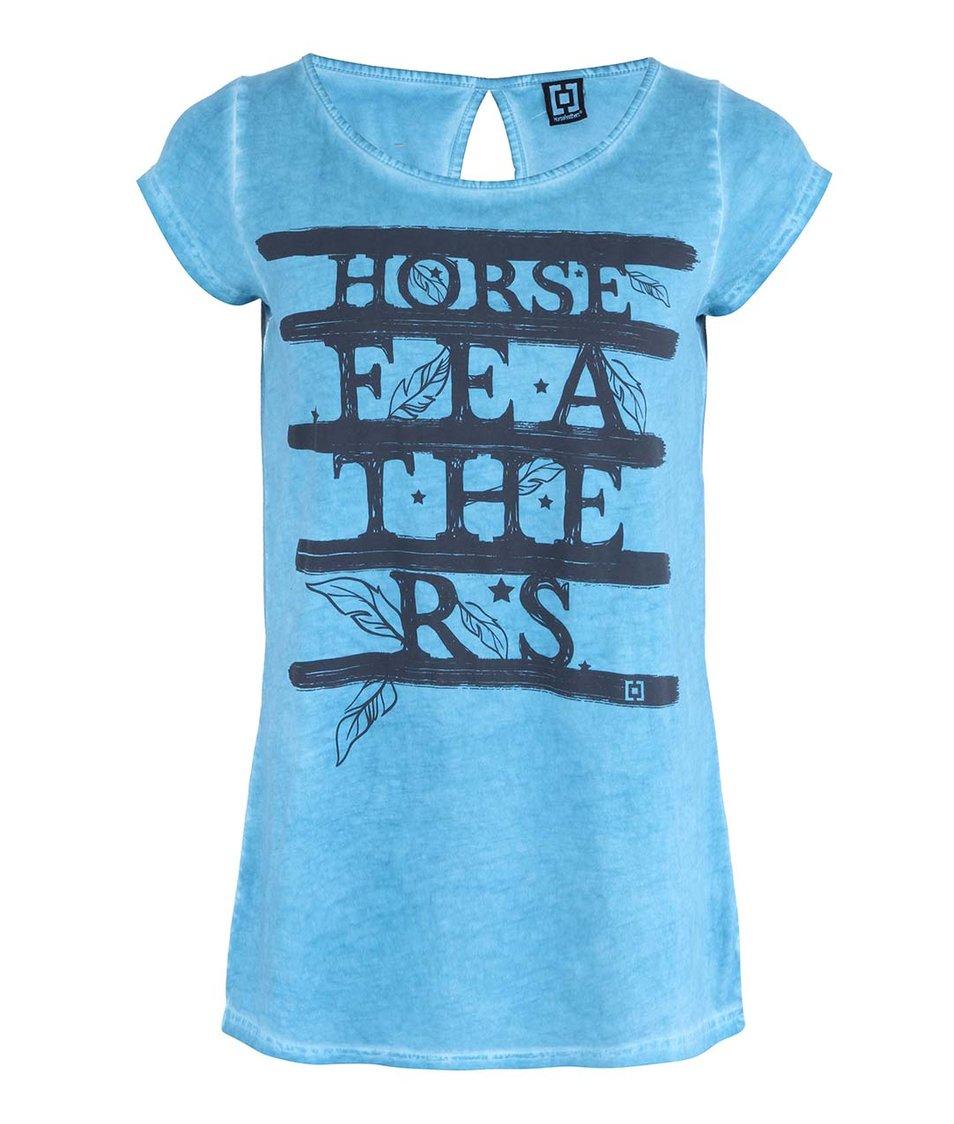 Modré dámské tričko s nápisem Horsefeathers Feathers