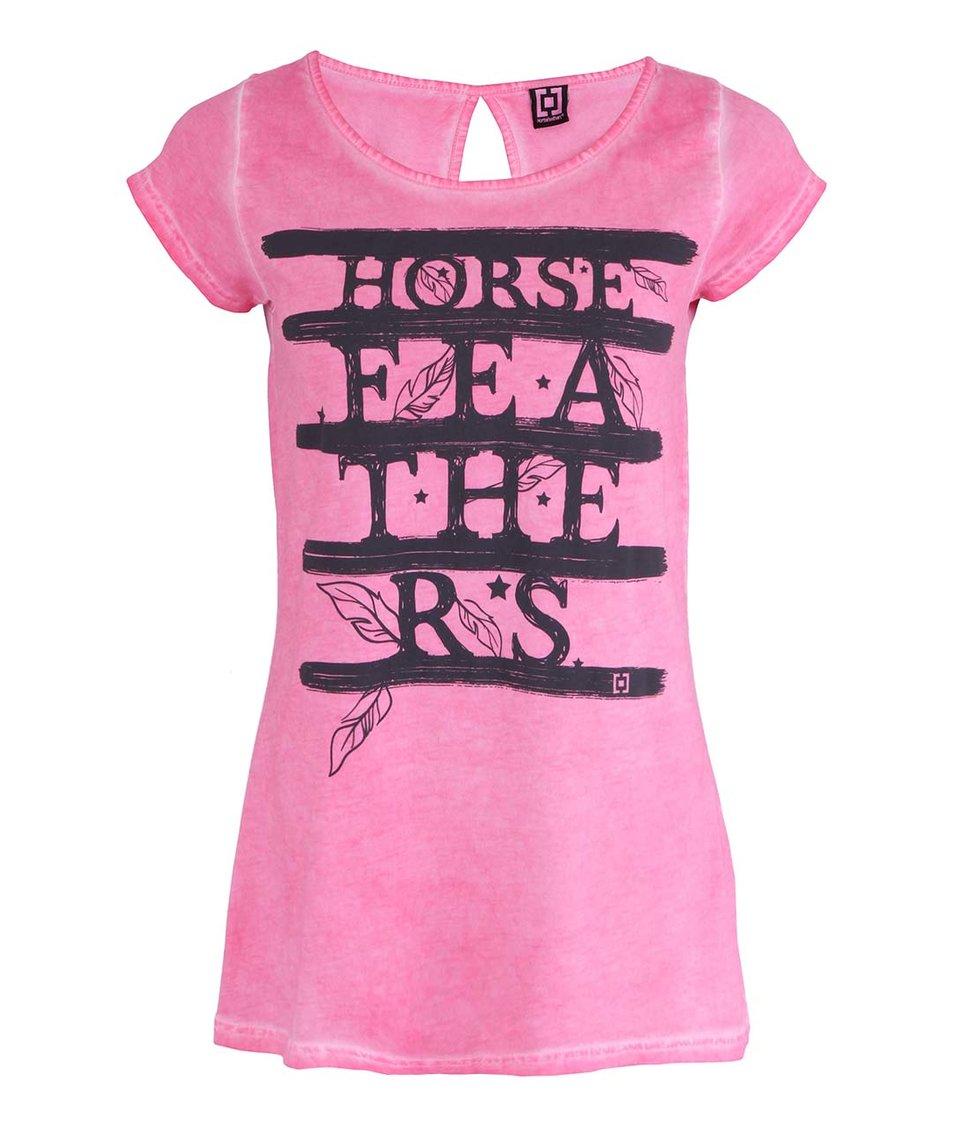 Růžové dámské tričko s nápisem Horsefeathers Feathers