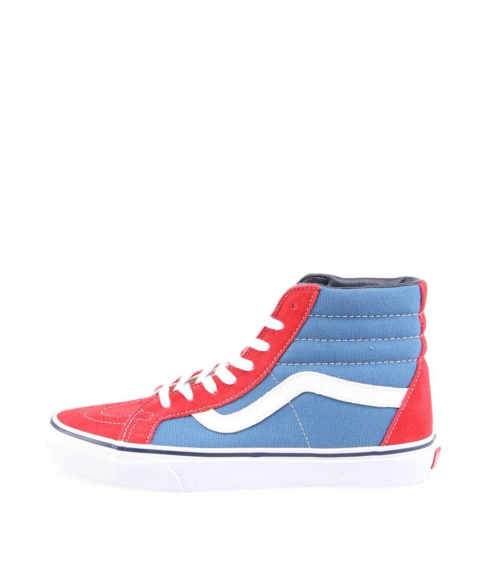 Červeno-modré pánské kožené kotníkové tenisky Vans SK8-Hi Reissue