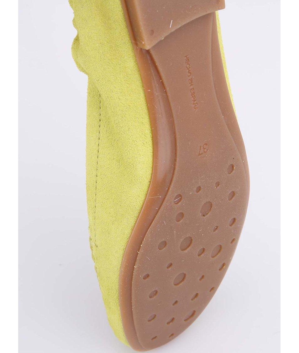 Žluté kožené mokasíny OJJU