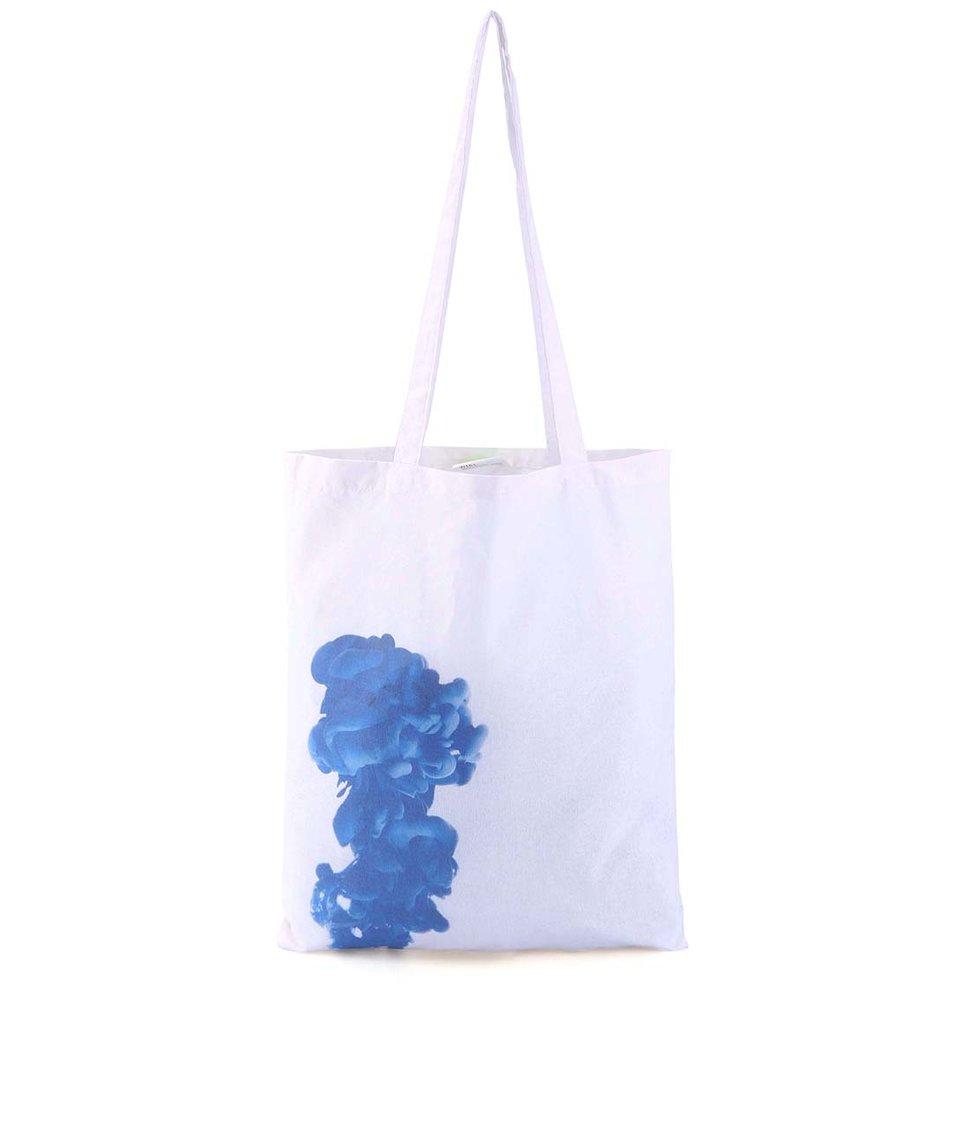 Krémová plátěná taška s modrým abstraktním potiskem ZOOT Originál