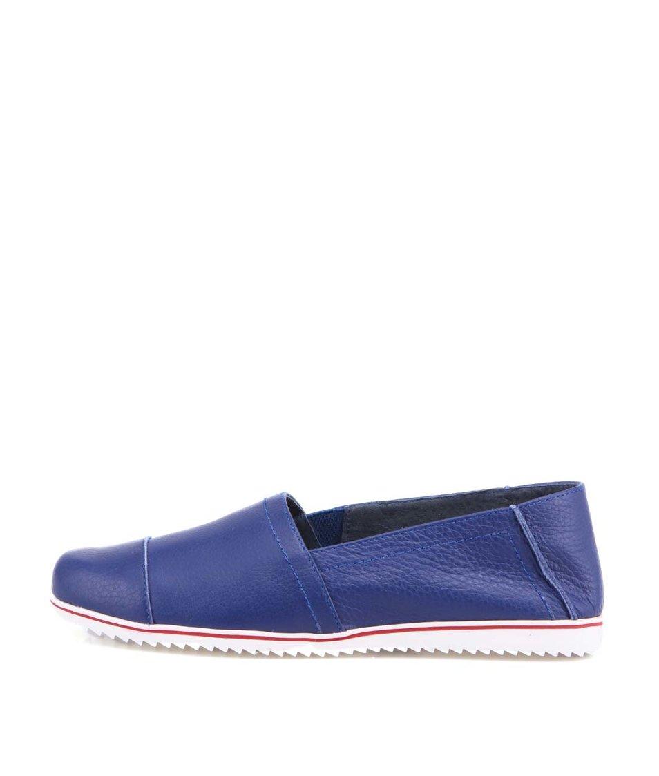 Modré kožené loafers OJJU
