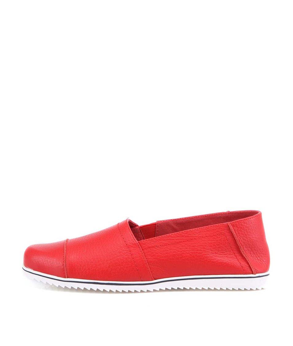 Červené kožené loafers OJJU