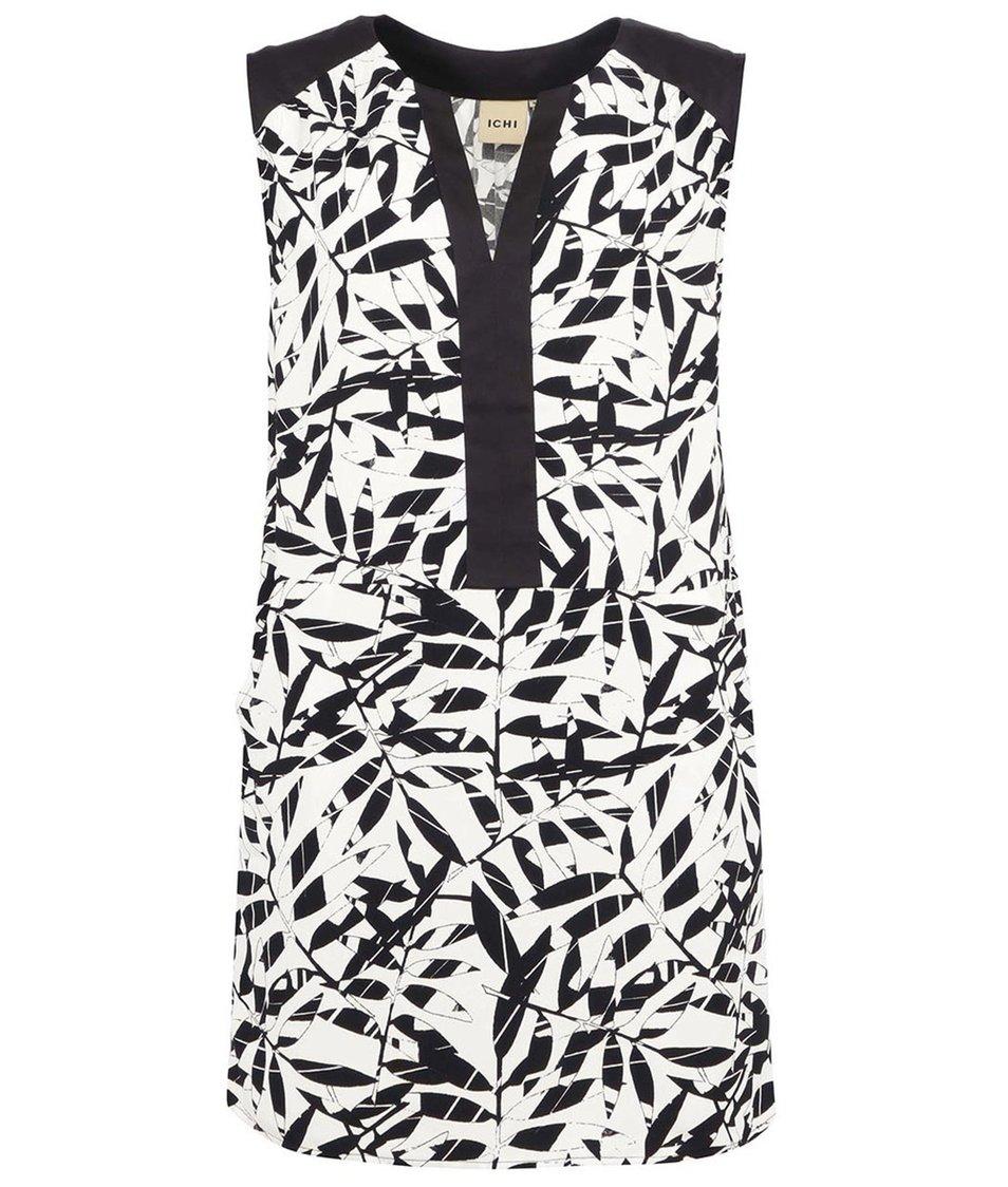 Krémovo-černé šaty s lístky ICHI Betta
