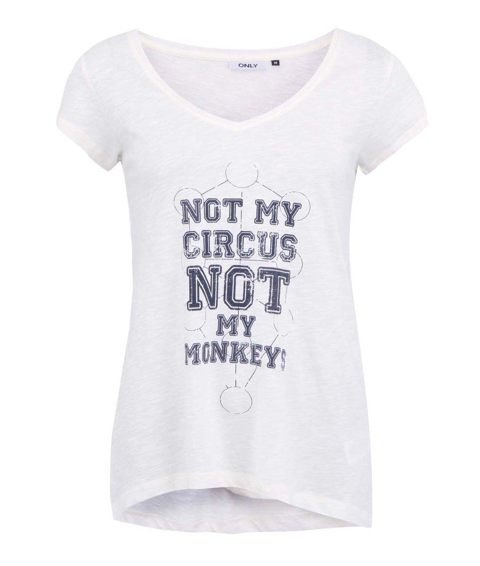 Bílé tričko s modrým nápisem ONLY Gry
