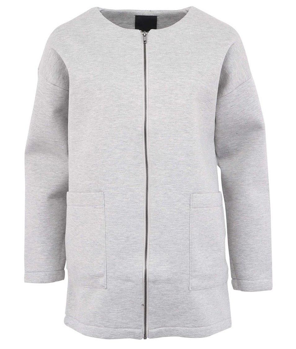 Šedý žíhaný kabát ICHI Suj