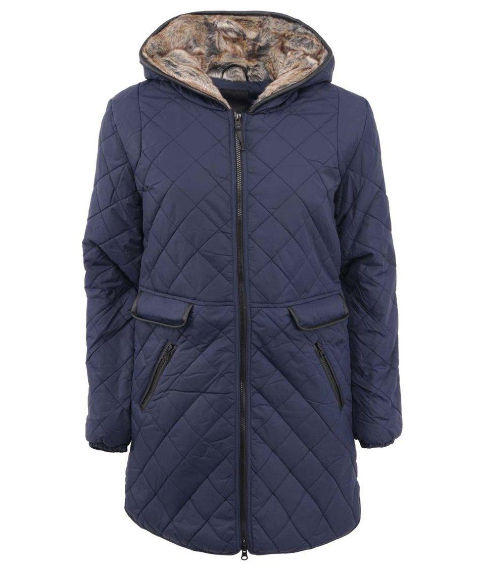 Tmavě modrý prošívaný kabát s kapucí ICHI Tivan