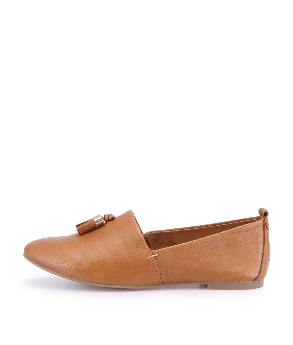 Hnědé kožené loafers s třásní ALDO Acoania