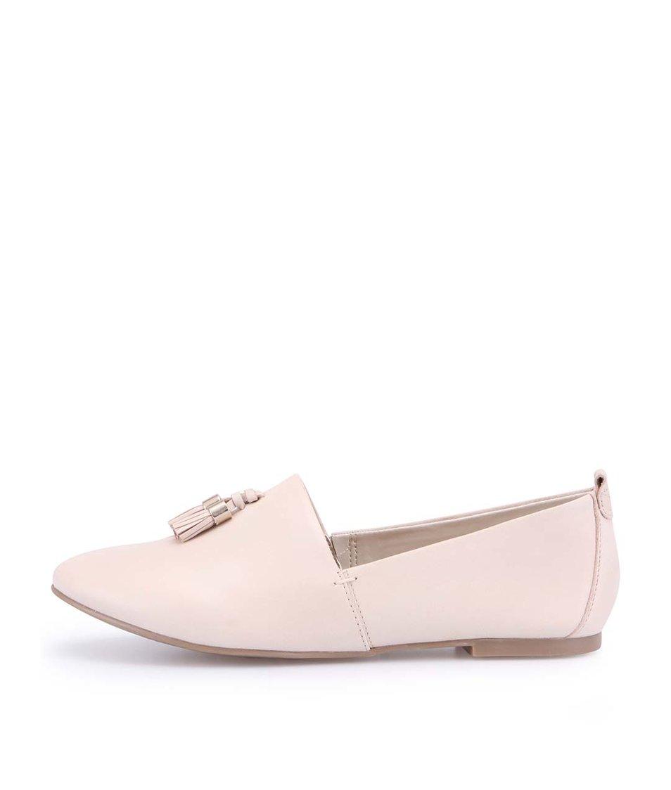 Krémové kožené loafers s třásní ALDO Acoania
