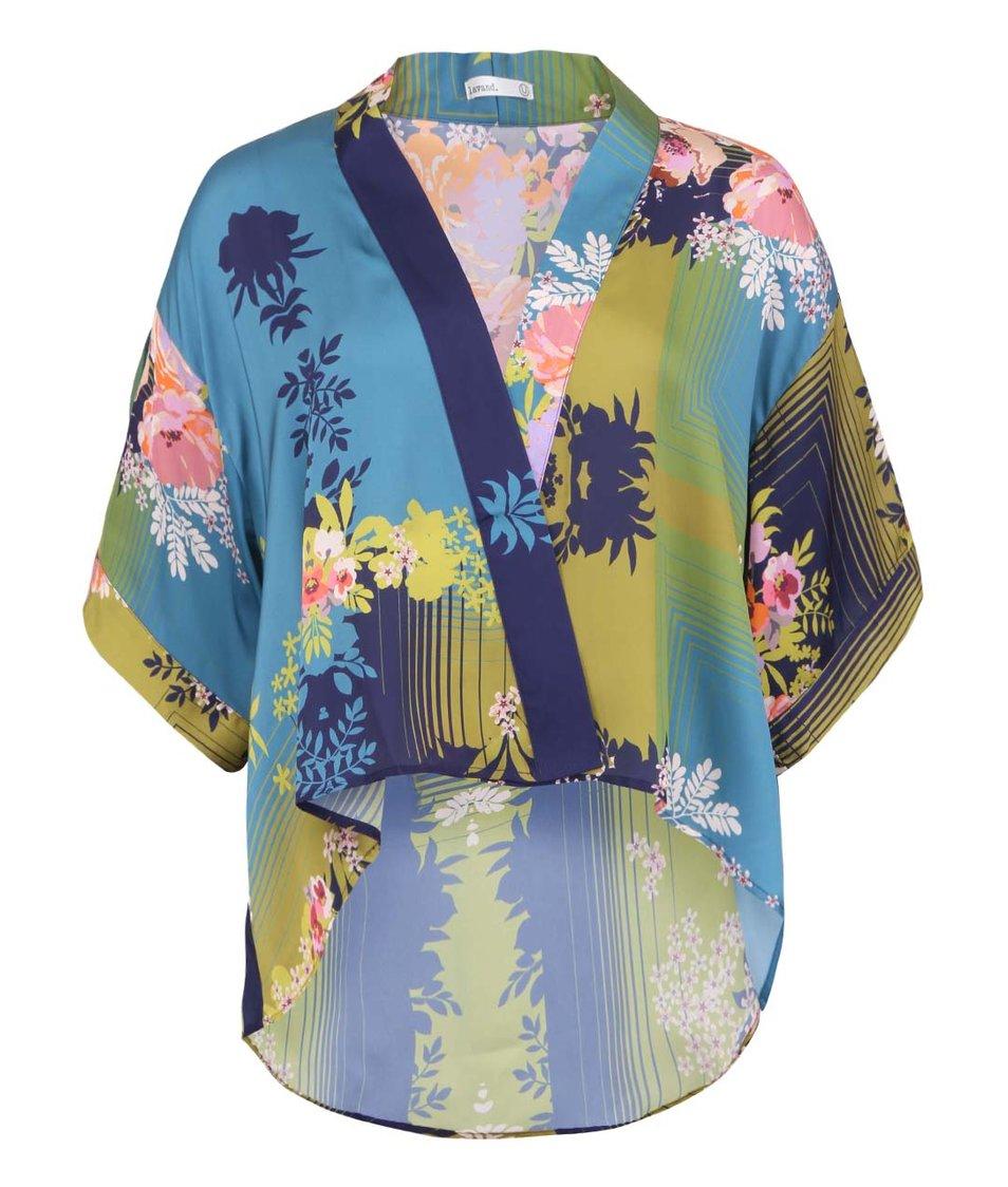 Modré dámské kimono s květinovým potiskem Lavand
