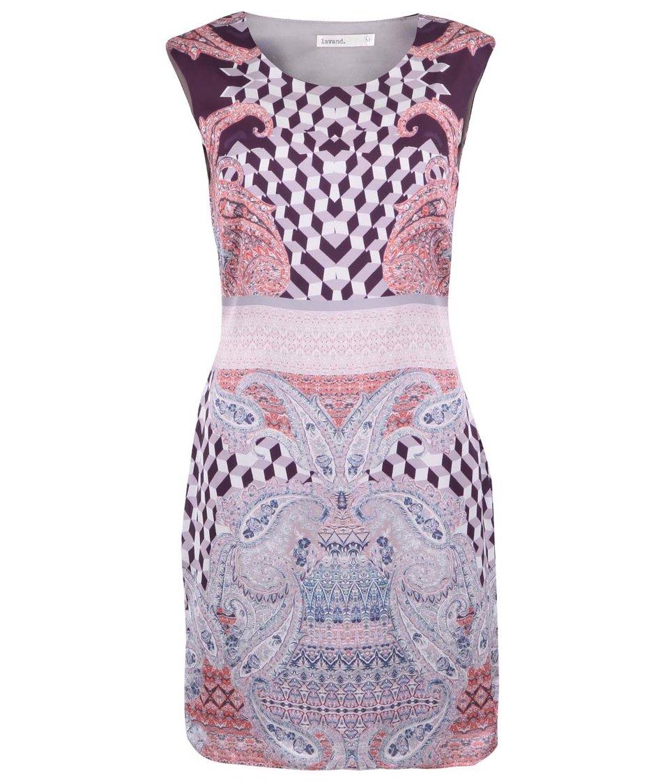 Růžovo-fialové šaty s geometrickými vzory Lavand