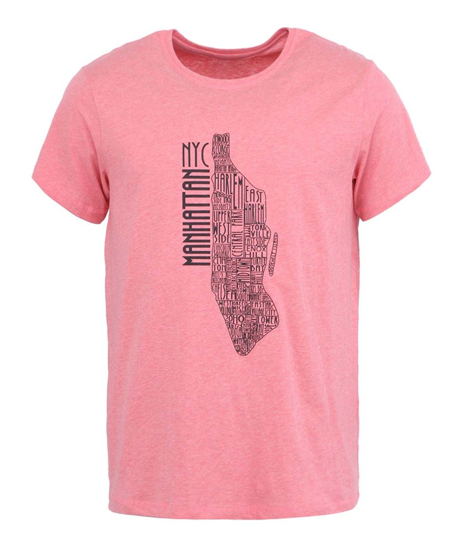Růžové triko s potiskem Casual Friday by Blend