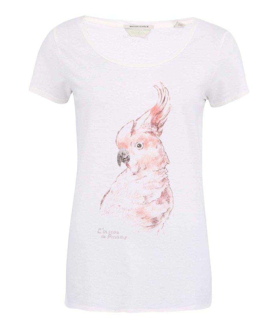 Bílé dlouhé tričko s papouškem Maison Scotch