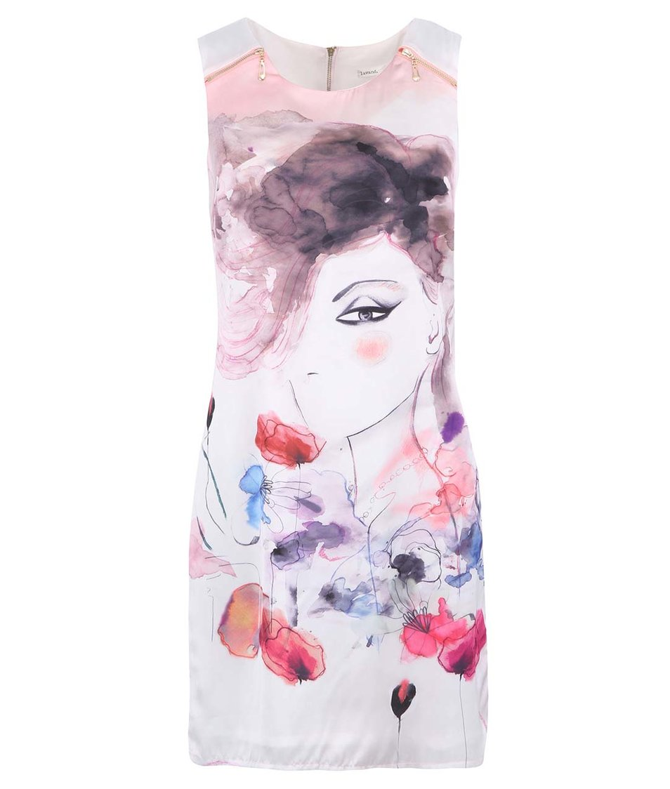 Bílo-růžové šaty s malovaným obličejem Lavand