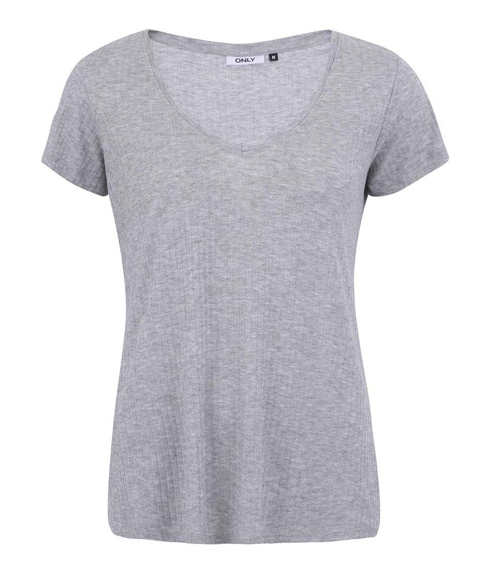Světle šedé volnější tričko ONLY Web