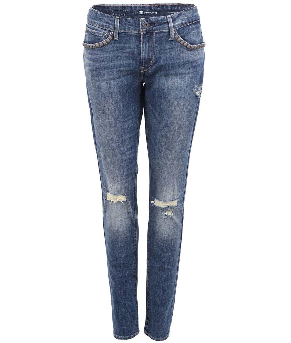 Tmavě modré dámské úzké džíny s potrhanými koleny Levi's®