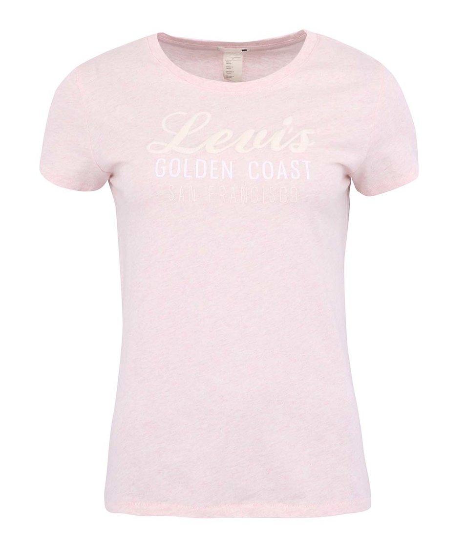 Růžové žíhané dámské tričko s krátkým rukávem a potiskem Levi's®