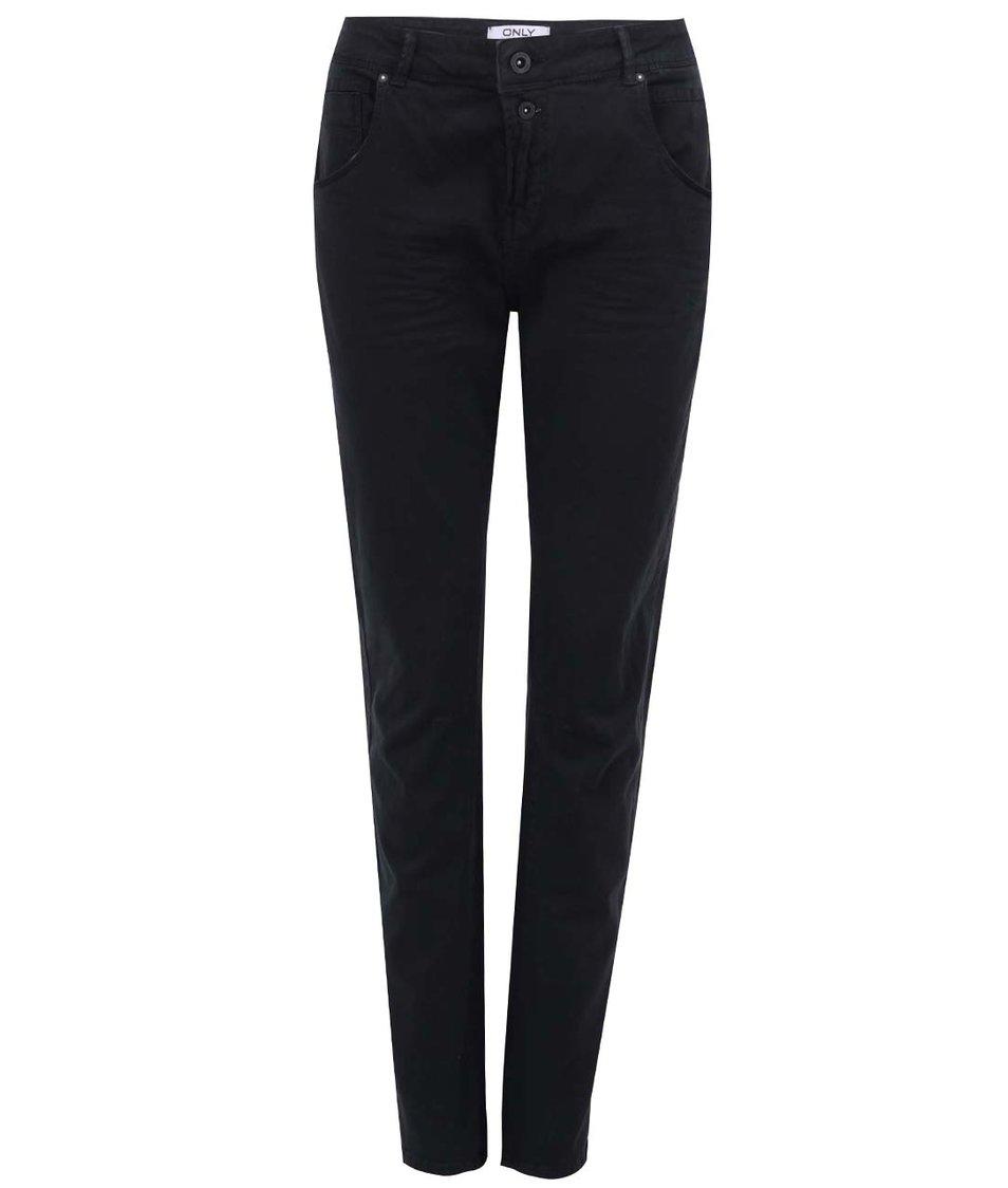 Černé kalhoty s vyšším pasem ONLY Lise