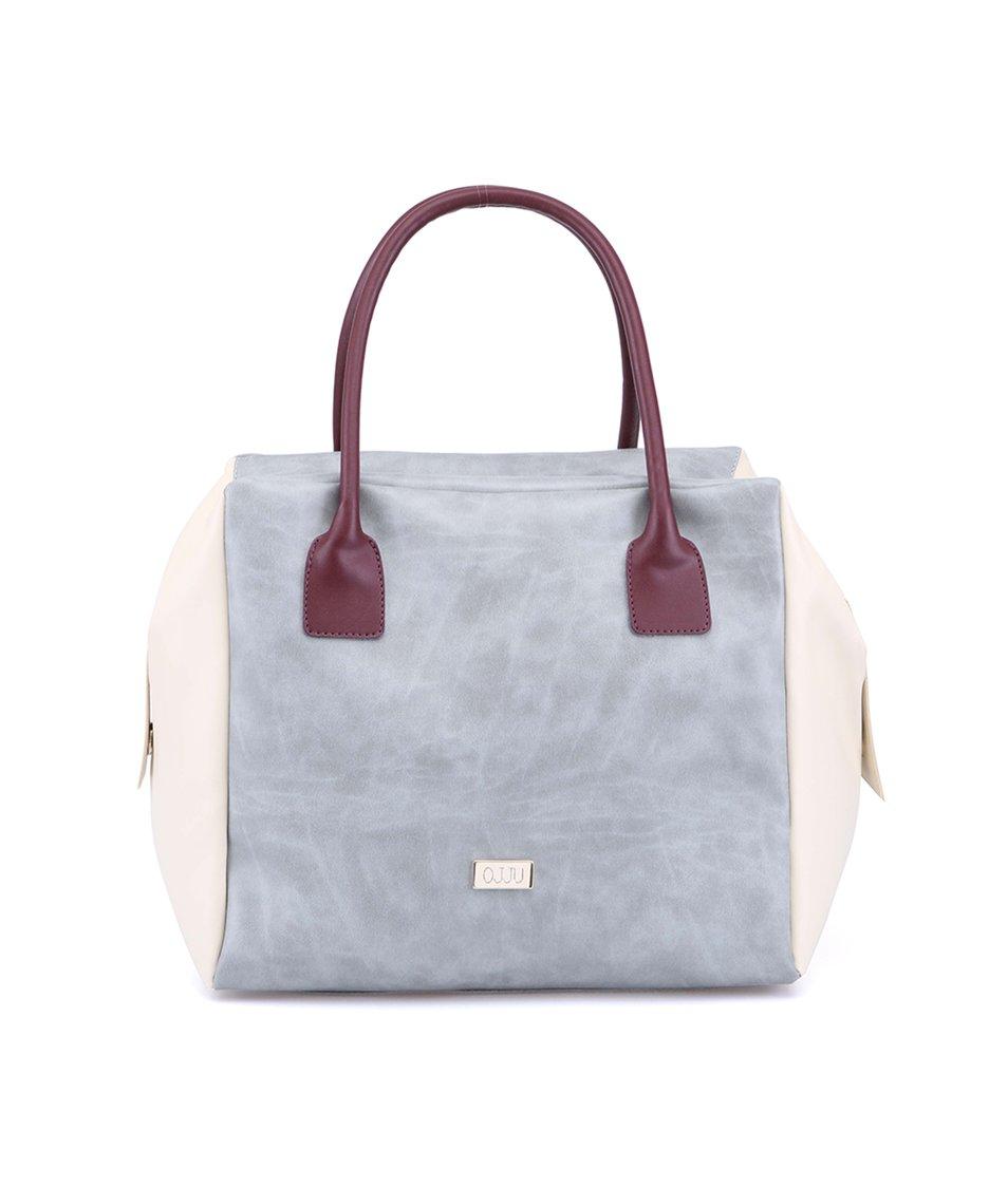 Krémovo-šedá velká kabelka s fialovými uchy OJJU