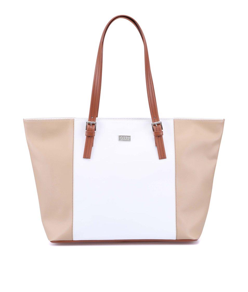 Bílo-béžová kabelka s hnědými uchy OJJU