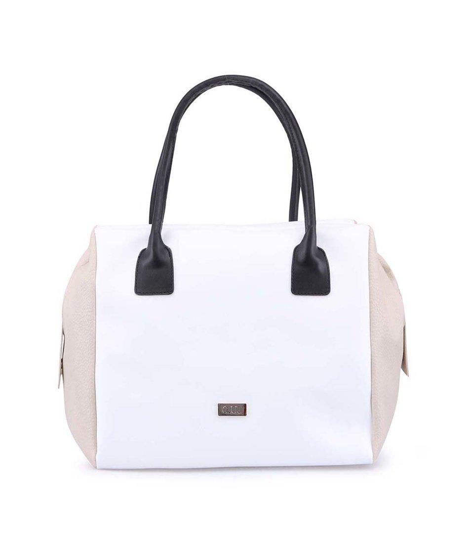 Béžovo-bílá velká kabelka s černými uchy OJJU