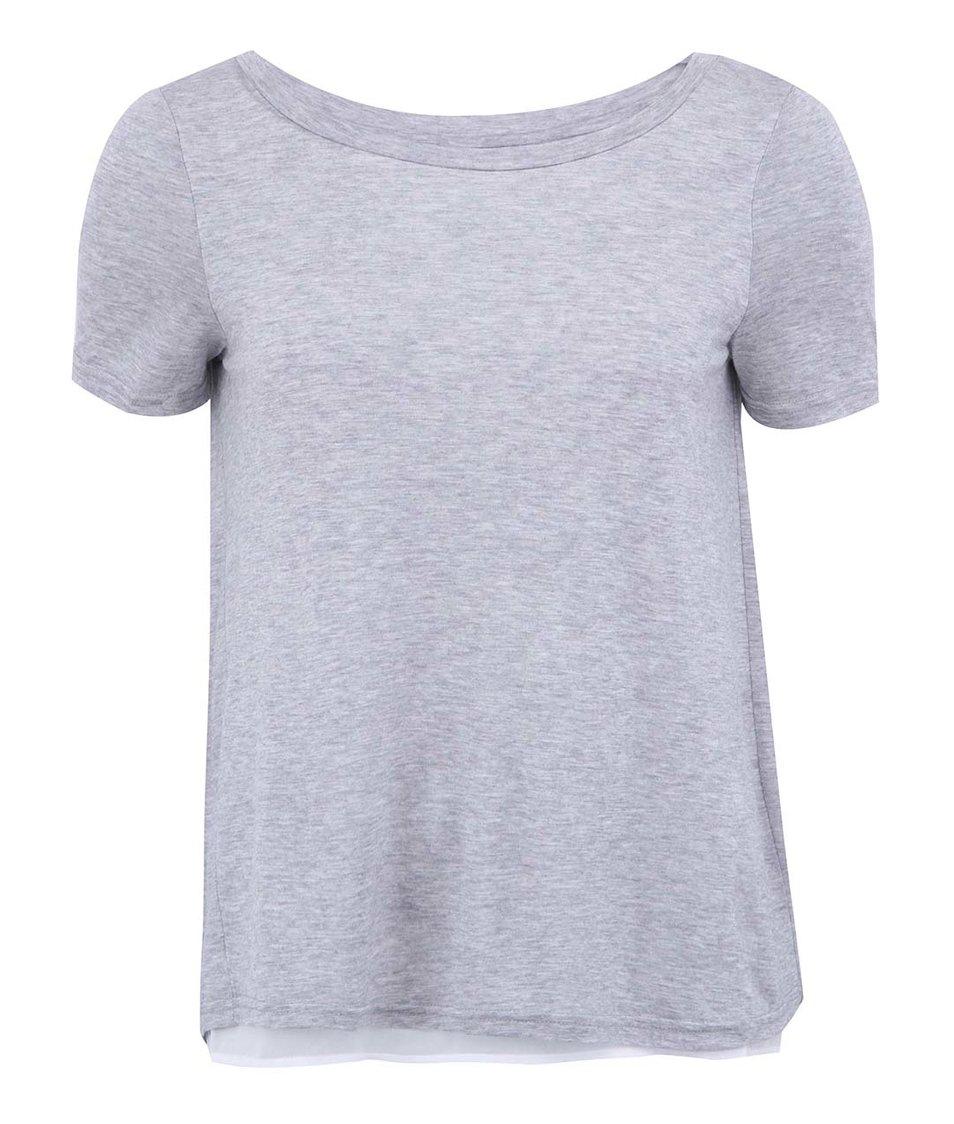 Světle šedé tričko s průstřihem na zádech Vero Moda Marie
