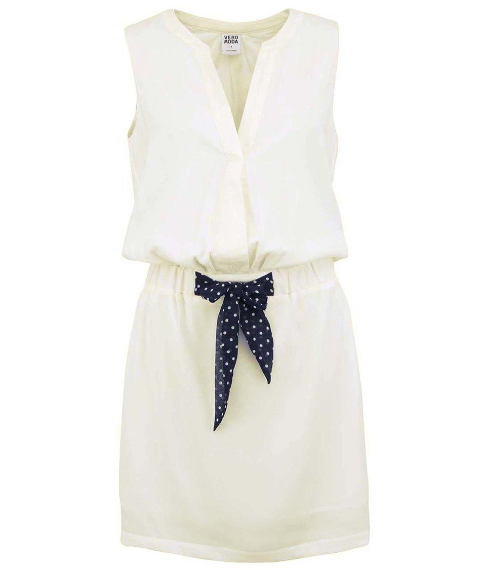 Krémové šaty s puntíkovanou mašlí Vero Moda Ring