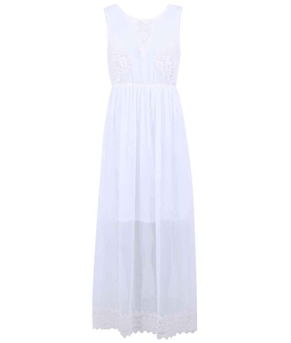 Bílé dlouhé šaty s krajkovanými detaily Vero Moda Grace