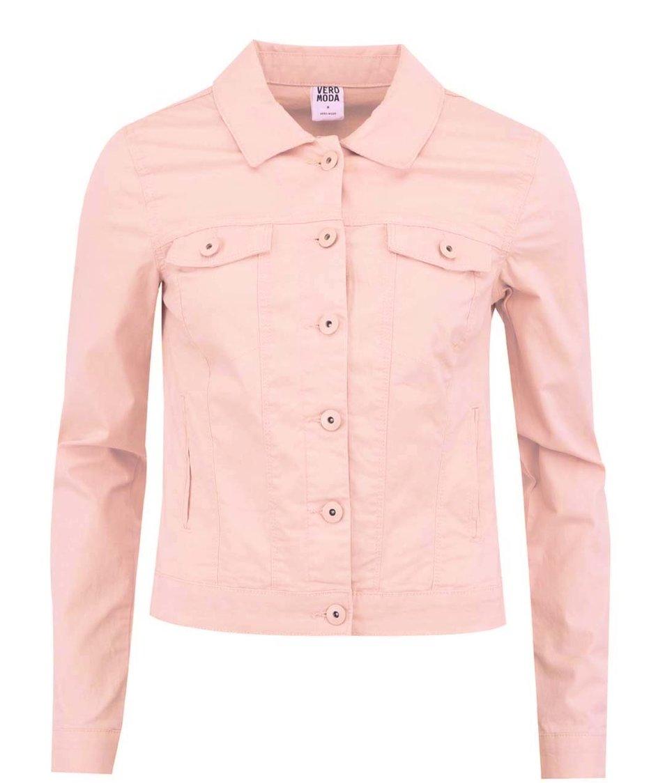 Světle růžová džínová bunda Vero Moda Soya